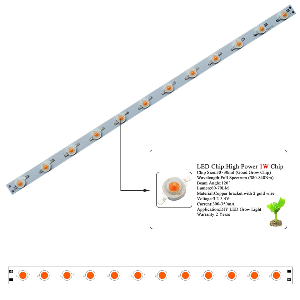 high power led grow light full spectrum 380-740nm