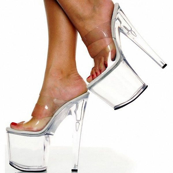 Transparent Crystal Women's Slippers 8 Inch High-Heeled Shoes 20cm Open Toe Sandals Gossip Girl Like Sexy Platform Crystal Shoes 20cm high heeled shoes transparent crystal sandals 8 inch wedding dress shoes back strap party exotic dancer performance shoes