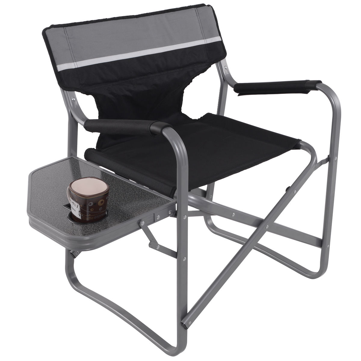 Folding Directors Chair With Side Table Us 47 13 25 Off Giantex Director S Chair Folding Side Table Outdoor Camping Fishing Chair With Cup Holder Portable Director Chair Op3208 In Beach