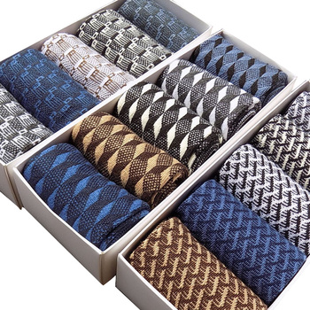 10Pcs=5 Pairs High Quality Bamboo Fiber Socks Men's Elite Casual Business Socks Wear Not Smelly Natural Antibacterial Mo Boxed