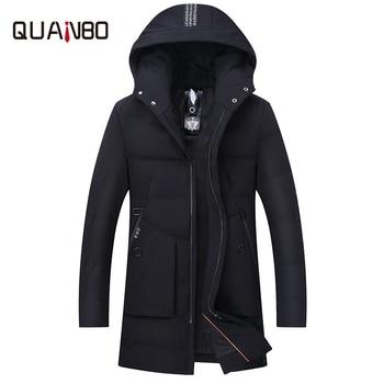 [90 duvet de canard blanc] 18 hiver hommes longue doudoune haut de gamme homme élastique mince à capuche décontracté doudoune coupe-vent veste