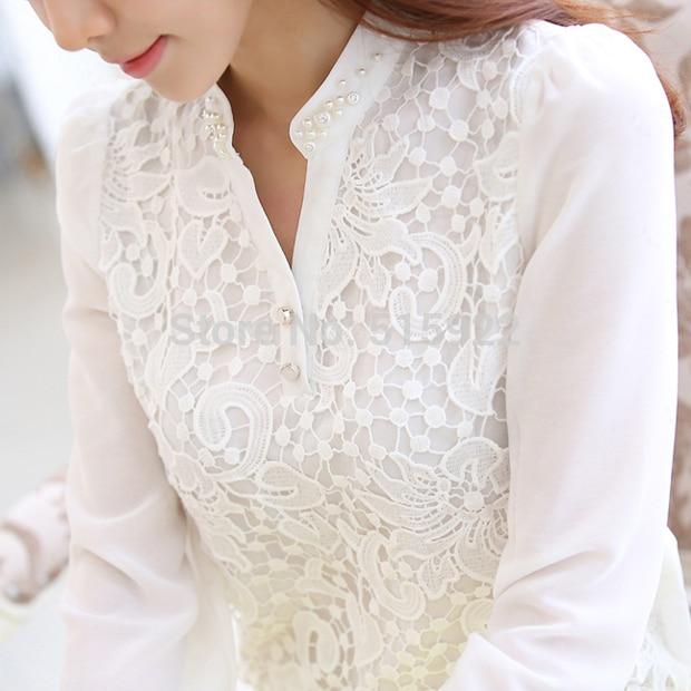 2017 New Arrival Lace Blouse Beading Crochet White Long Sleeve Chiffon Shirt Feminine Income Plus size