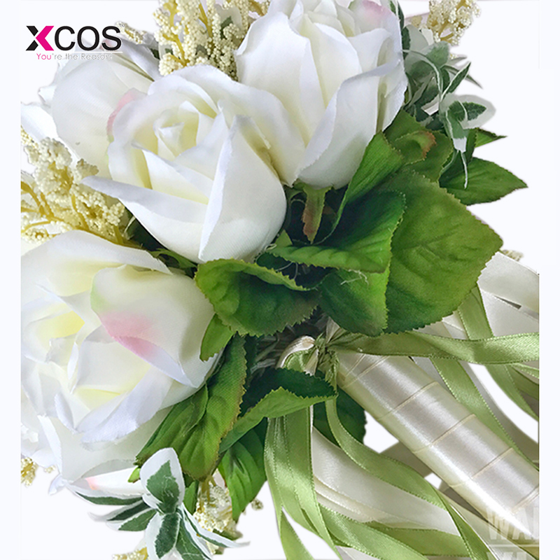 Bruidsboeket Hoge kwaliteit ivoorroos Gooi bruiloft 18 bloemen - Bruiloft accessoires - Foto 3