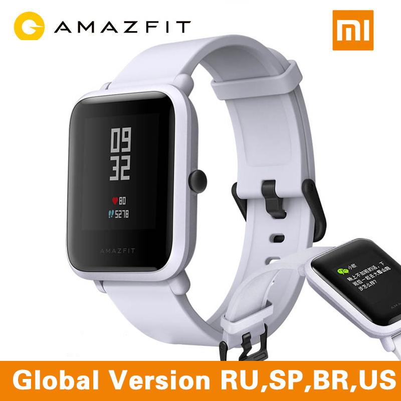 Xiaomi Amazfit Bip Version anglaise montre intelligente xiaomi Amazfit Bip Huami Miband Pace Lite Gloness montre intelligente fréquence cardiaque Branco