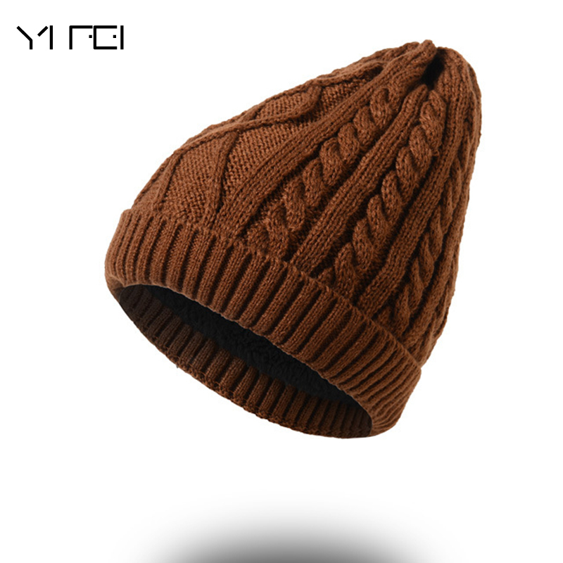 YIFEI 2017 Hot Sale Winter Knitting Hat For Man SNOW Skullies Beanies Warm Cap Man Beanie Hat High Quality HATS Drop Shipping skullies hot sale candy sets color pointed hat knitting hat sets hat cap 1866951