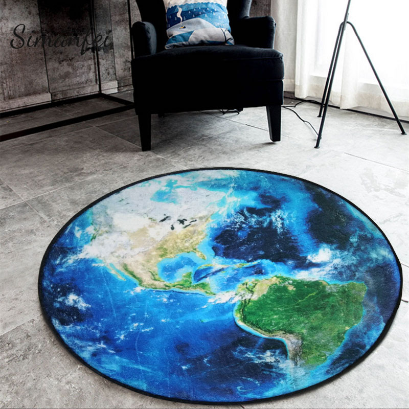 Simanfei Moon Round Carpets 2018 3D Printed Earth Planets Mat Anti-slip Circular Floor Rugs Computer Chair Mats Kids Room Decor
