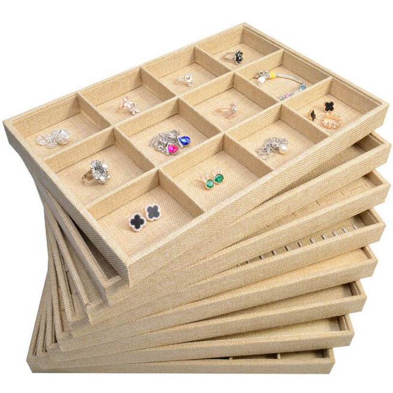 New Arrival Wrapped Linen Jewelry Display Jewellery Tray Ring Holder Necklaces Organizer Bracelets Showcase Pendants Box