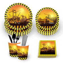 OHEART Excavator Construct Theme Party Disposable Tableware Sets Built Birthday Napkins Straws Plates Supplies
