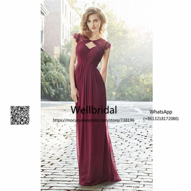 Spring 2017 Burgundy Bridesmaid Dresses Long With Lace Short Sleeves Wedding Guest Dress Chiffon Formal
