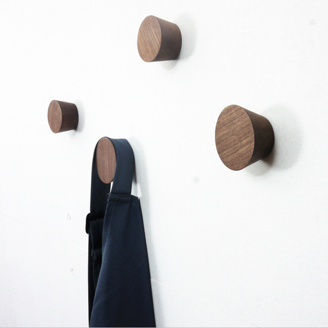 2pcs Wood Hook Wall coat rack European creative black walnut Wallets  antenna wall hanger wall hook