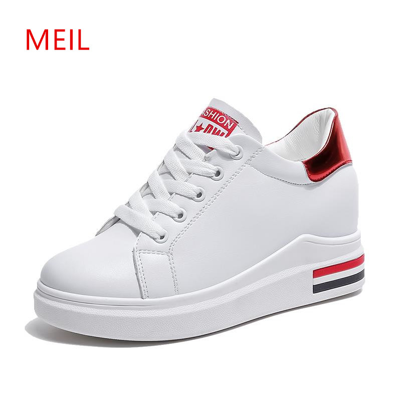 Women White Platform Sneakers 2018 Fashion Wedges Shoes for Women Wedge Sneakers Ladies Lace Up High Heel Sneakers Female Shoes