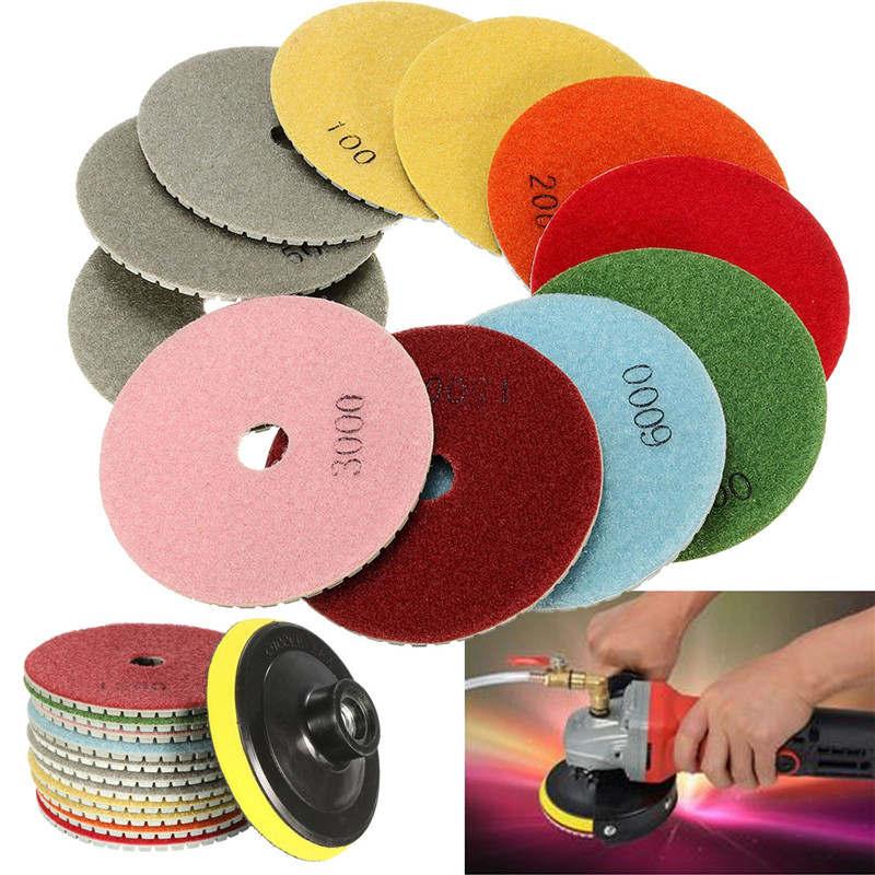 цены 12PCS/set 100mm Diamond Polishing Pads Wet Dry 4 Inch Set Kit Saw Discs For Granite Concrete Marble Polish