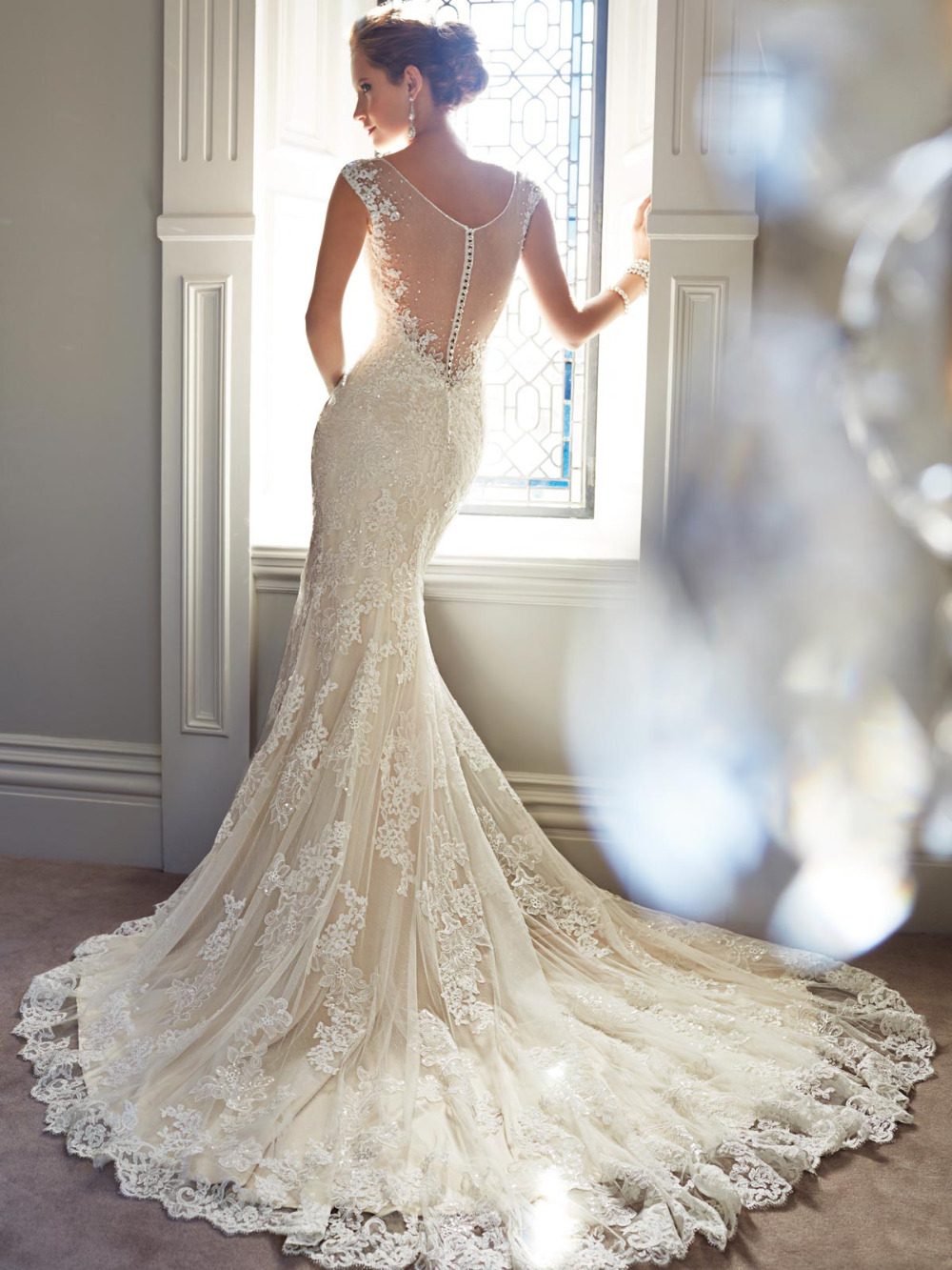 Vintage Wedding Dress 2015 Sweetangel Plunging Neckline Illusion Sheer Back Long Tail Lace Mermaid Bridal In Dresses From