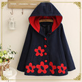 New autumn winter women jacket japanese style mori girl flower patch long sleeve cotton casual hooded warm wool outerwear coat