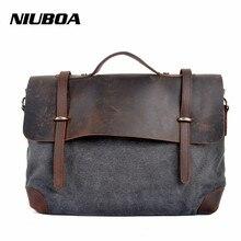 NIUBOA Fashion Retro Woman Men Messenger Bags High Quality Thick Cotton Canvas Add Leather Unisex Casual