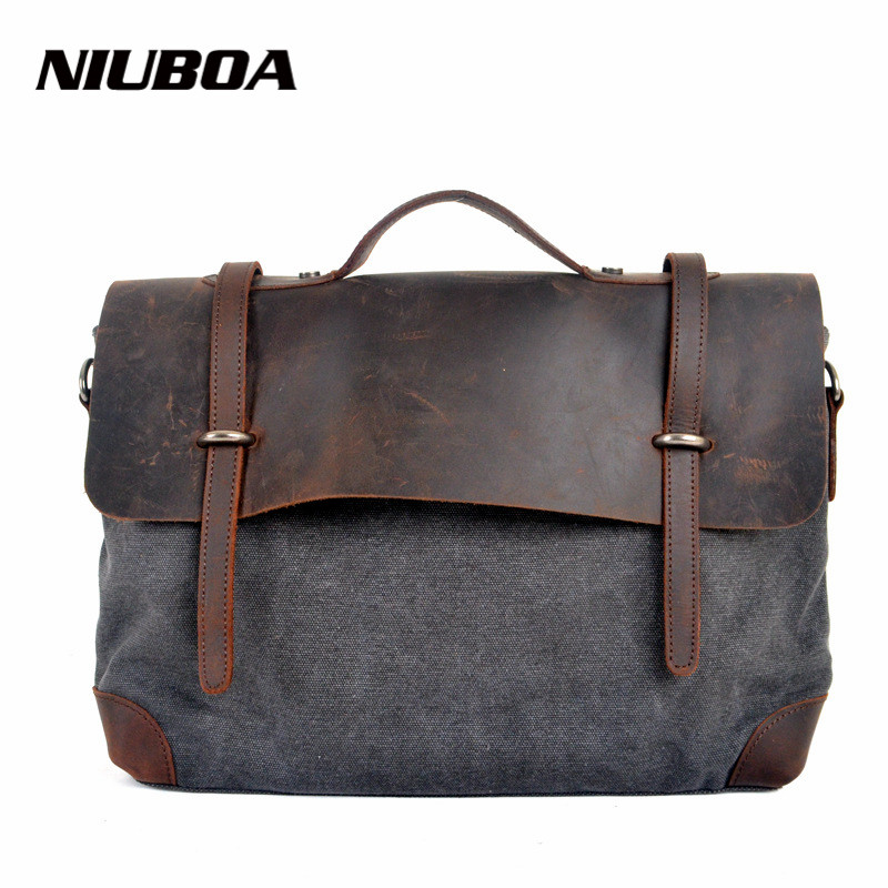 NIUBOA Fashion Retro Woman Men Messenger Bags High Quality Thick Cotton Canvas Add font b Leather