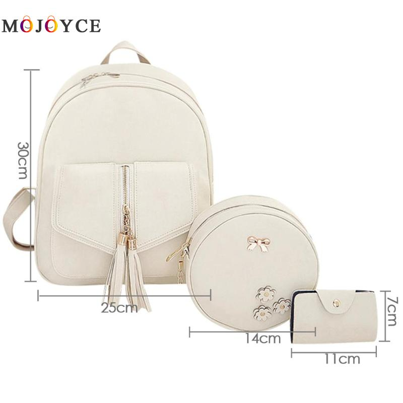 3pcs/set Tassels Bowknot Pu Leather Women Backpacks Cute School Backpacks For Teenage Girls Female Shoulder Bag #6