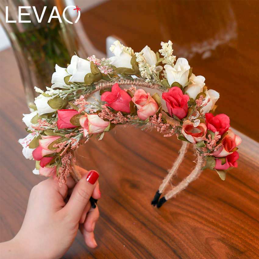 LEVAO Ladies Wedding Floral Crown Headband Colorful Small Flowers Garland Hairband Hair Hoop Bridal Wreath Hair Accessories