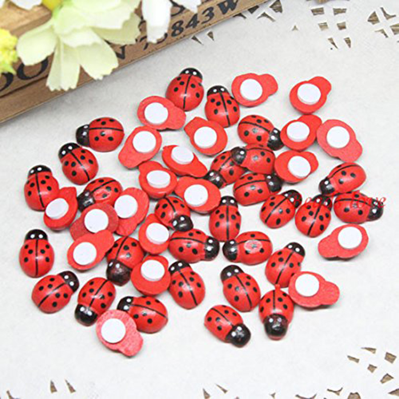 100 Pcs New Mini Self Adhesive Red Ladybug Kids LADYBUG Birthday Party Invitation Cards Decorate BEADS Hand Craft Wood Confetti