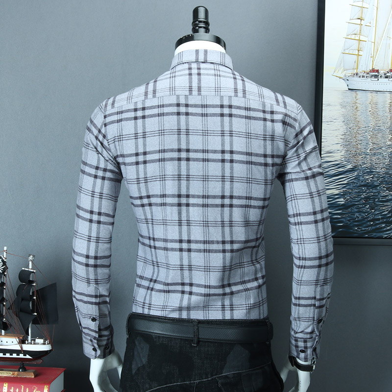 Image 5 - Mens Brushed Plaid Striped Design Button Down Dress Shirt Smart 