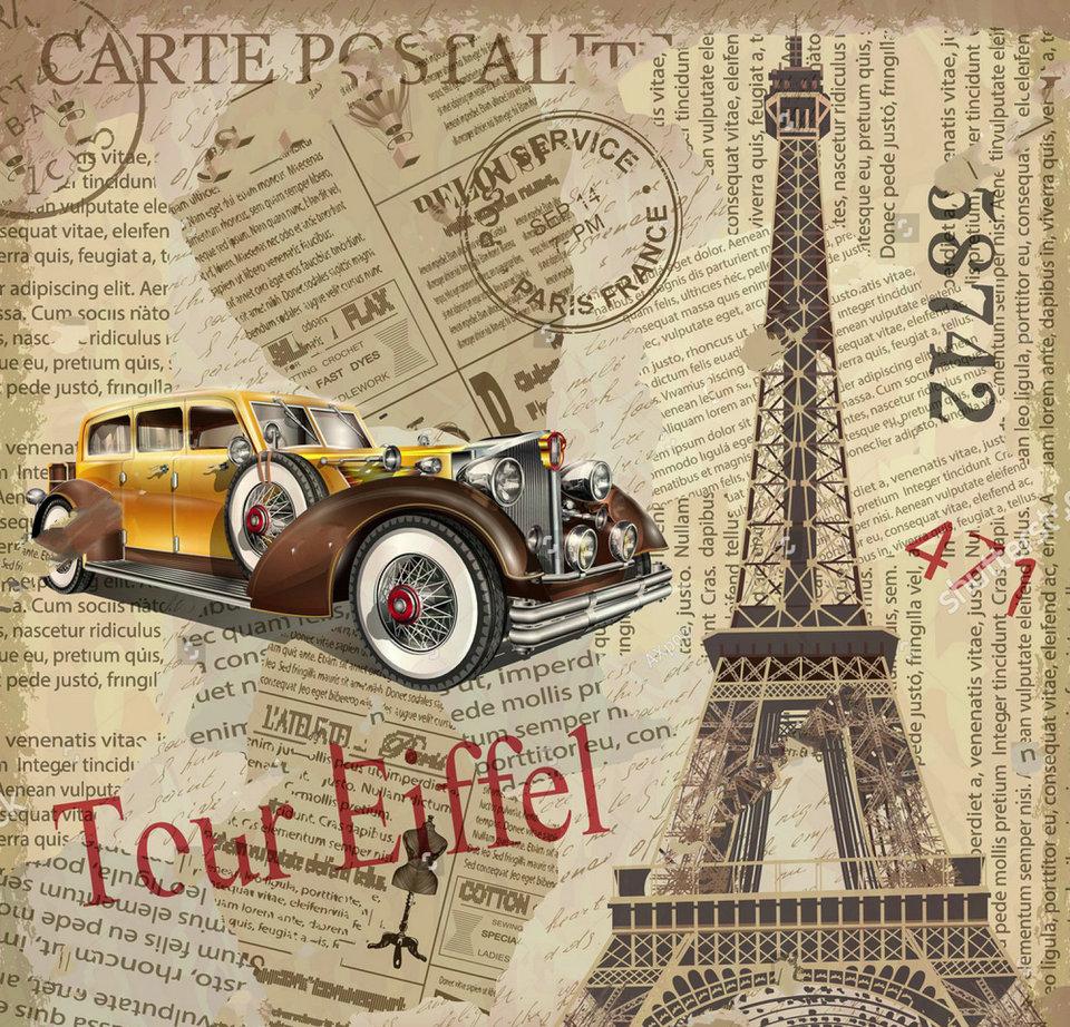 Paris Eiffel Tower Vintage Torn Newspaper Old Car Backdrop High Quality Computer Print Wedding Background Background Aliexpress