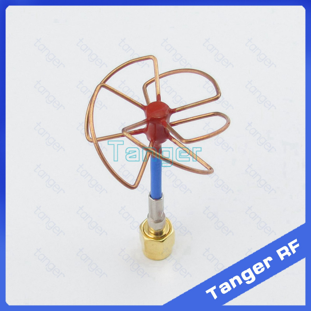Tanger New 5.8GHz FPV Antenna 5 Leaf Blade 5.8G TX RX SMA male plug Circular Polarized Gain Antenna with RG405 RG086 Blue cable 12dbi 5 8g wide angle sma plug flat fpv antenna array for r c toys white blue