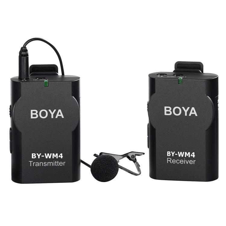 BOYA BY-WM4 Lavalier Senza Fili sistema Microfono per Canon Nikon Sony A7 GH4 DSLR Videocamera Fotocamera iPhone Samsung Smartphone