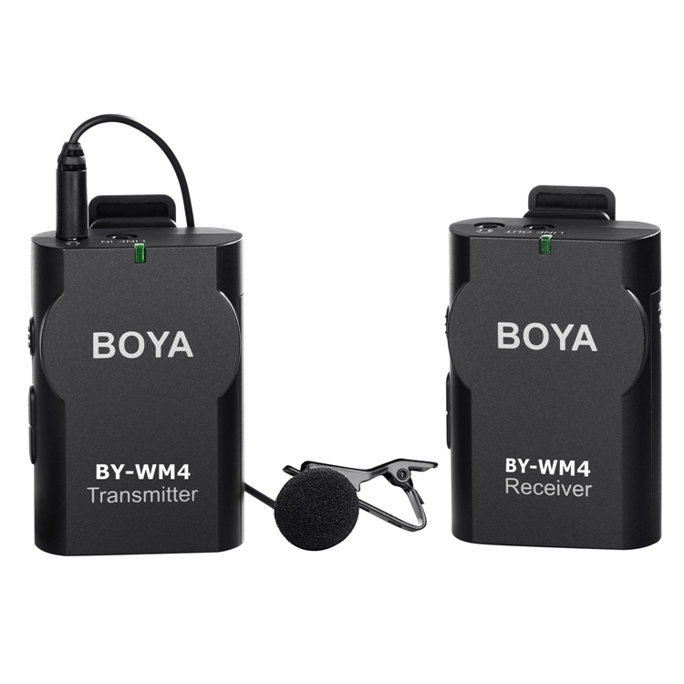 BOYA BY-WM4 Wireless Lavalier Microphone system for Canon Nikon Sony A7 GH4 DSLR Camera Camcorder iPhone Samsung Smartphone boya by wm4 wireless lavalier microphone system smartphone lapel mic for iphone 8 7 android canon nikon tablet pc audio recorder
