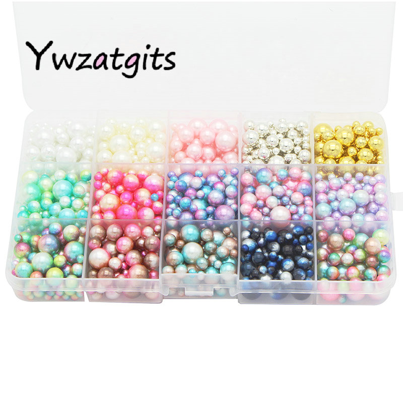 Ywzatgits 1140pcs/lot Mix Rainbow Color Round 4/6/8/10mm Imitation Pearl Beads No Holes DIY Handmade Accessories YE1213