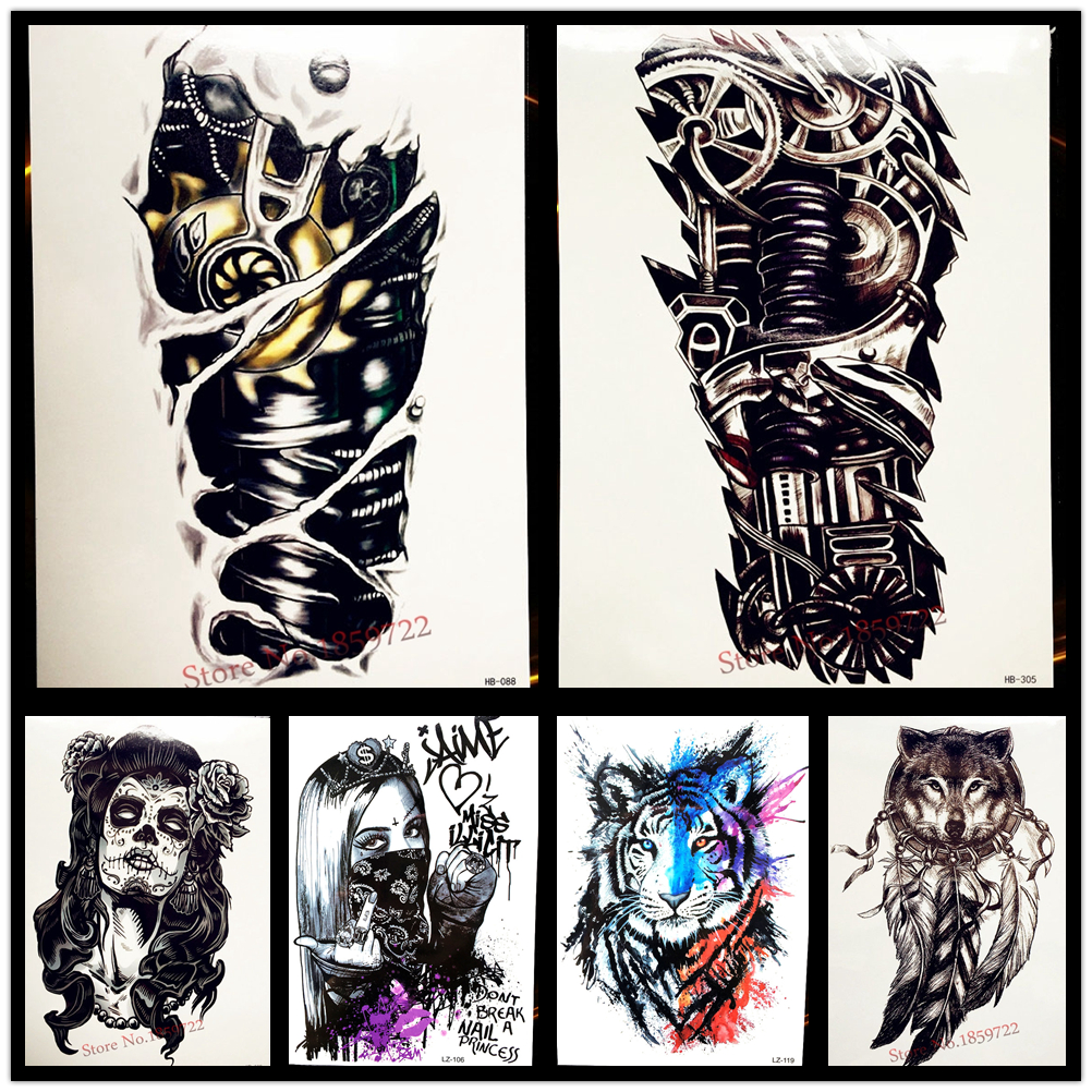 Men 3D Tattoo Robot Arm Waterproof Temporary Tattoo Stickers 21x15CM Mechanical Arm Design Large Sexy Women Tattoo Sleeves la palmyre zoo