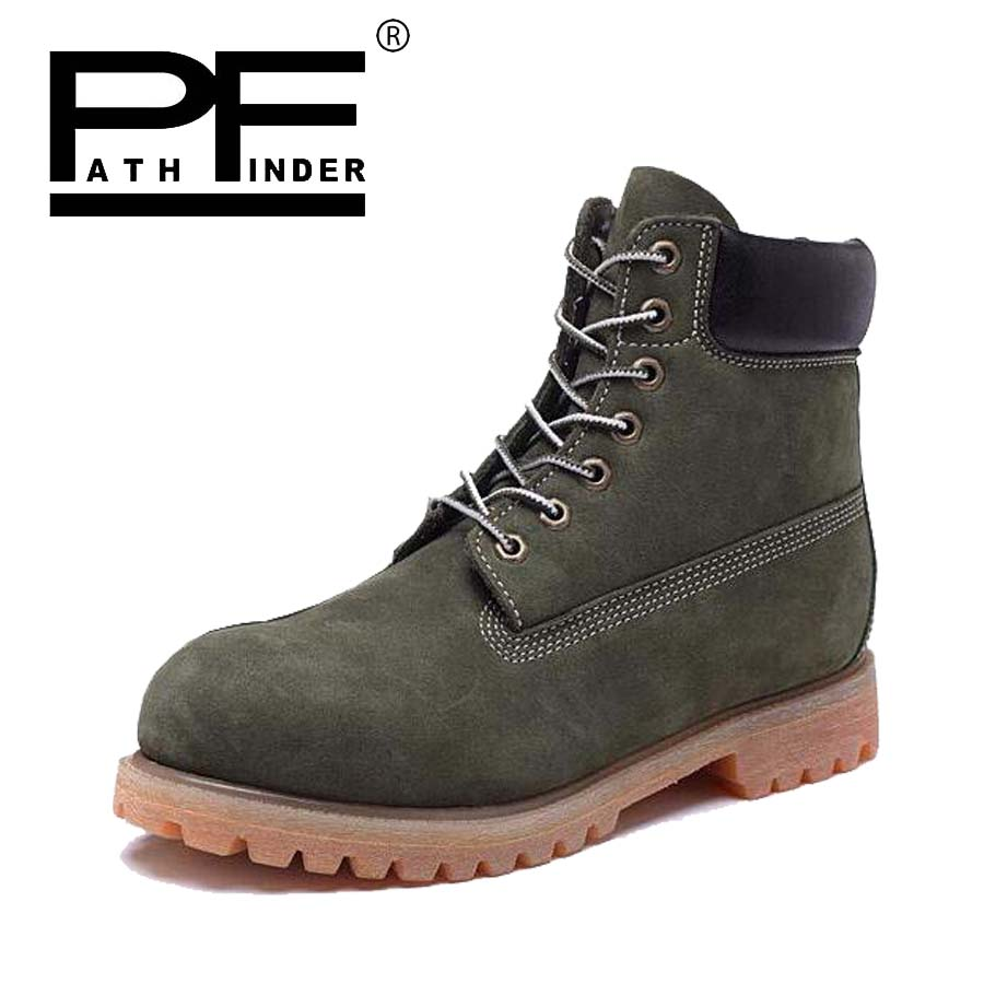 Pathfind Leather classic ankle snow Boots Waterproof Motorcycle Martin fashion timber font b shoes b font