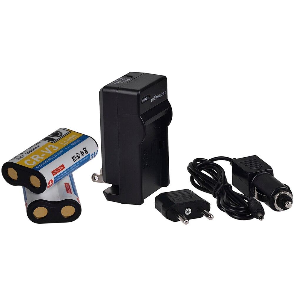 2 шт. 2000 мАч 3.0 В CR-V3 Камера Аккумулятор + Зарядное Устройство Для Olympus SP-500UZ SP-350 D565 C-5050 С-55