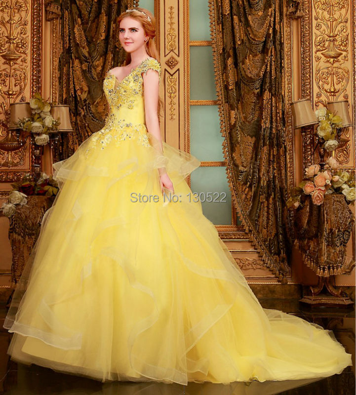 Free Shipping WE 1644 Beaded cap sleeves puffy ball gown color ...