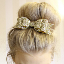 1 Pcs  Lady Girls Sequin Big Bowknot Barrette Hairpin Hair Women Clips Bow Accessories