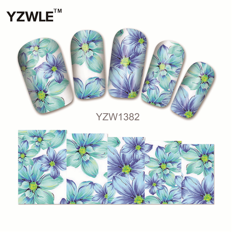 YZWLE 1 Sheet Chic Flower Nail Art Water Decals Transfer Stickers Splendid Water Decals Sticker(YZW-1382) yzwle 1 sheet hot gold 3d nail art stickers diy nail decorations decals foils wraps manicure styling tools yzw 6015
