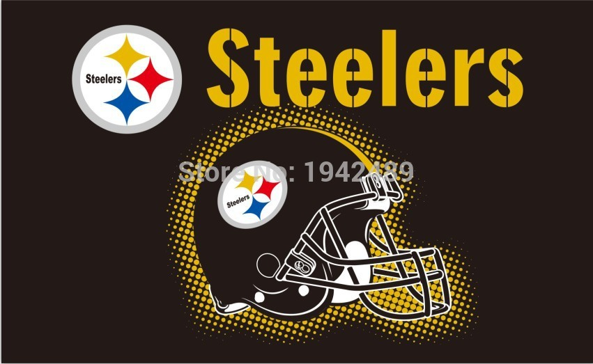 Free Shipping NFL Pittsburgh Steelers 3x5FT digital print 100D helmet style Polyester Flying Size No.4 150* 90cm Custom flag