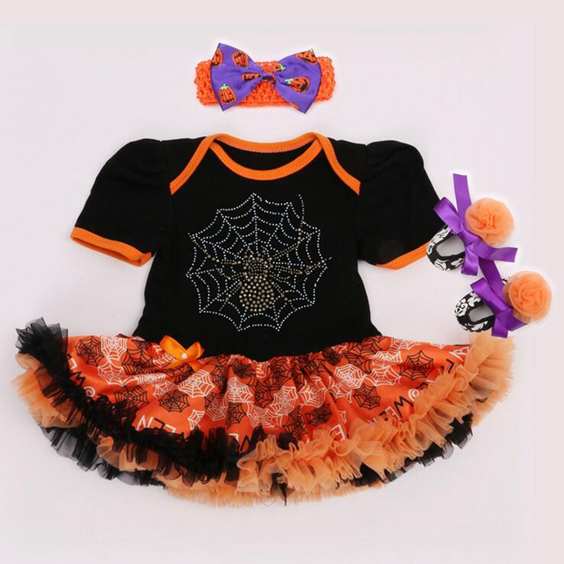 ae08e490e Cool Spider Web Black Halloween Costume For Kids Baby Girl Bodysuit ...