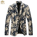 Large Size Floral Blazer Men Brand Clothing 5XL 4XL 3Color Blue Red Men Blazer Designs Slim Fit Cotton Blazer Masculino 2017