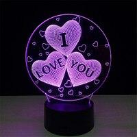 3D LED Nachtverlichting I Love U met 7 Kleuren Licht voor Woondecoratie Lamp Verbazingwekkende Visualisatie Optische Illusie Awesome
