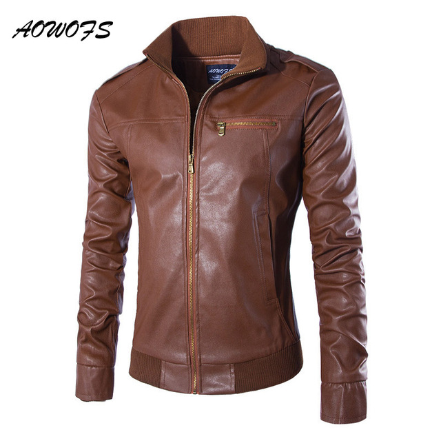 Aowofs Autumn Leather Jacket Men Stand Collar Slim Fit Brown Black