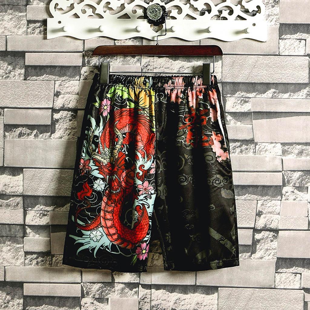 Pants Print Treetwear Fashion 3-Color Kimono Belt Beam-Line Leisure Vintage Men Personalized