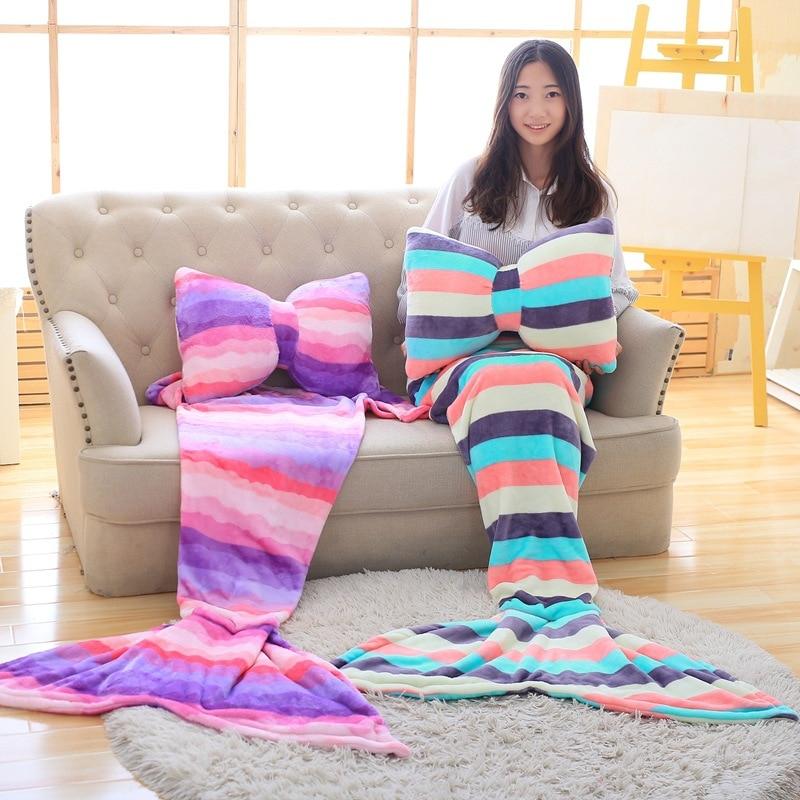 GZTZMY Christmas Gift Bowknot Pillow Mermaid Blanket Plaid on the Sofa Fish Tail Blanket Childrens Sofa Nap Sleeping Blanket