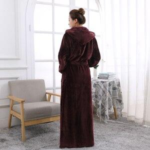 Image 4 - Frauen Mit Kapuze Extra Lange Warme Bademantel Heißer Verdickung Flanell Winter Kimono Bad Robe Männer Thermische Dressing Kleid Brautjungfer Roben