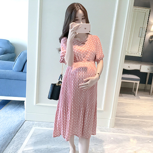 Image 3 - Chiffon Dresses Maternity Clothing For Pregnant Women Short Sleeve V neck Dot Vestidos Pregnancy Dress Maternity Summer Dresses