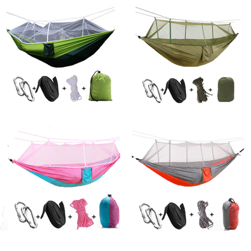 F Nelon Handy Portable Hammocks Folded into The Pouch Mosquito Nets Outdoor Furniture Hanging Bed for Travel Camping Hammock mosquito nets curtain for bedding set princess bed canopy bed netting tent