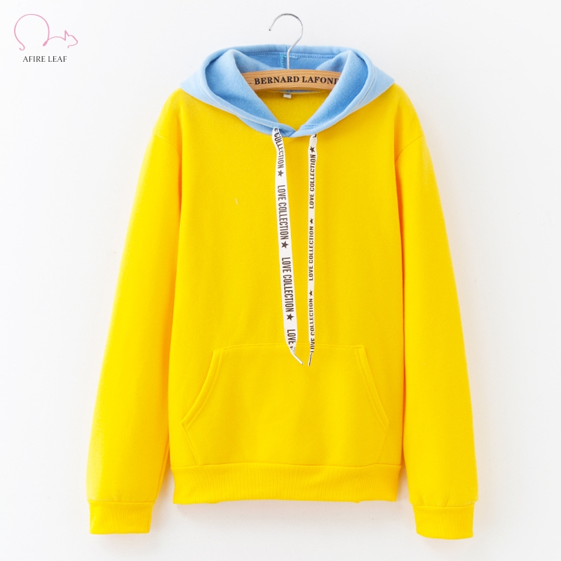 Afire Leaf Ladies's Informal Hooded Pullover Distinction Stitching Letters Women Tops 2018New Model Full Sleeve Streetwear Sweatshirt