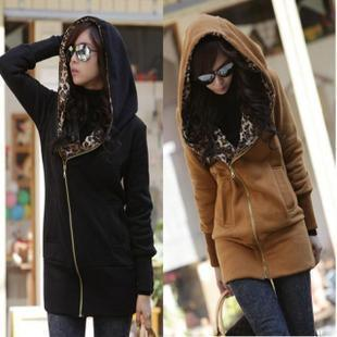 906 2013 casual leopard print long-sleeve with a hood thick sweatshirt outerwear plus size cardigan