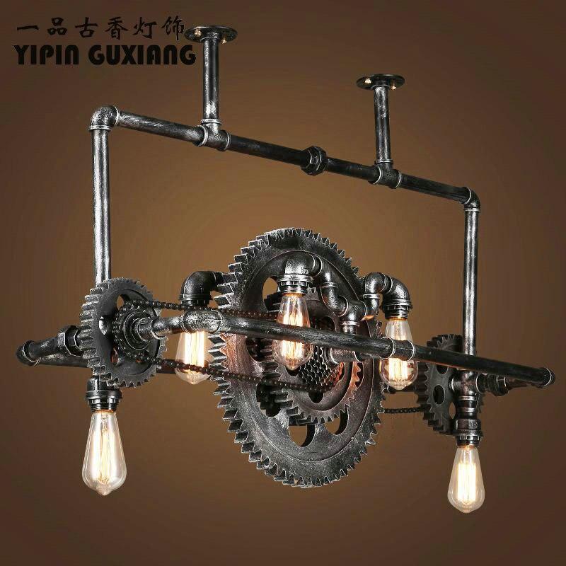 Loft Retro Pendant Light Vintage Industrial Lamp Nordic Metal Wheel Lights Loft Dining Room Lighting For Chirstmas Wedding Decor