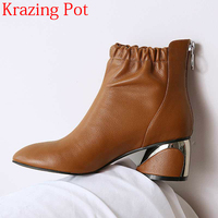 2018 New Arrival Genuine Leather Ruffles High Heels Round Toe Handsome Elastic Band Solid Sweet Elegant Women Ankle Boots L36
