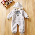 New 2017 autumn winter baby boy clothes tiger head long sleeved Hooded thickened Jumpsuit Fashion brand newborn baby boy romper